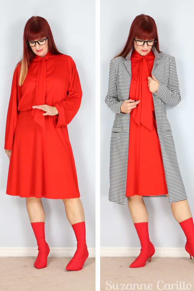 red vintage dress gingham trench coat