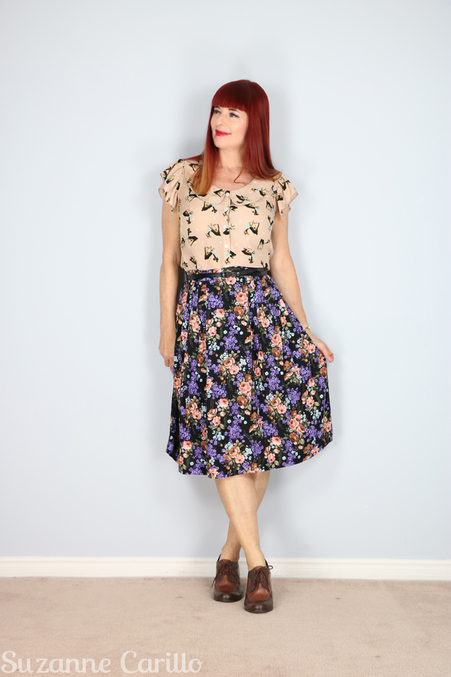 for sale vintage purple floral skirt suzanne carillo