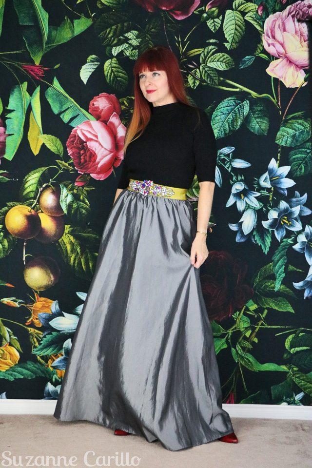 for sale vintage silver maxi skirt for sale vintagebysuzanne on etsy