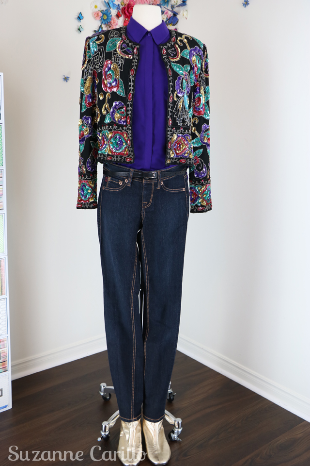 fun ways to style a vintage sequinned jacket sm