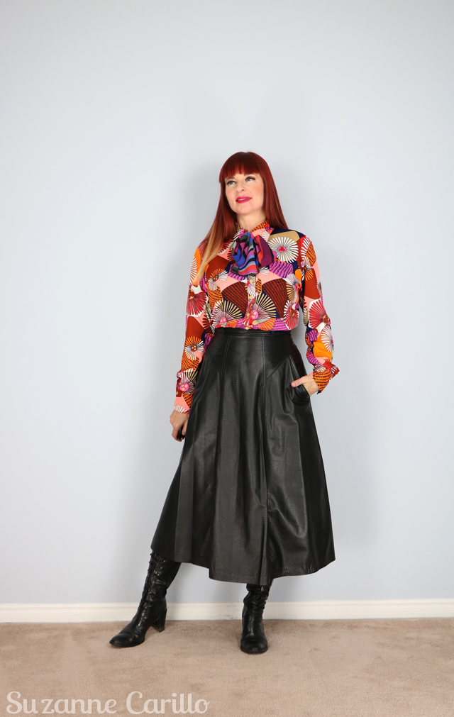 how to wear a vintage leather skirt suzanne carillo style