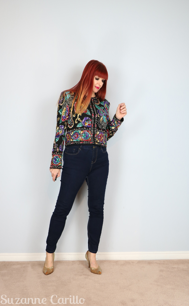 how to wear vintage sequin jacket suzanne carillo