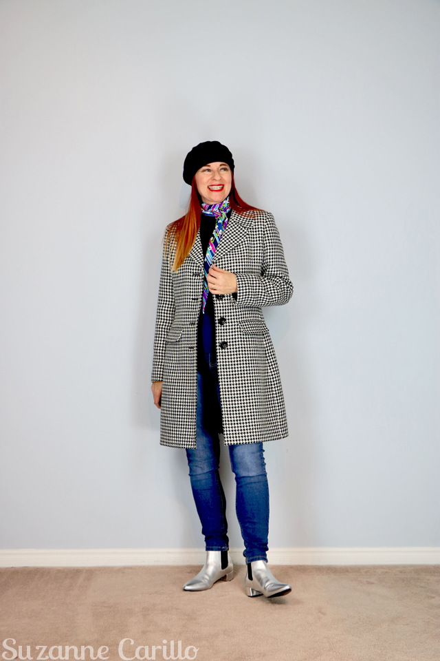 black and white gingham spring fall coat suzanne carillo