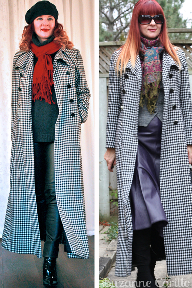 Winning statement coat style. Black and white gingham vintage maxi coat styled by suzanne carillo
