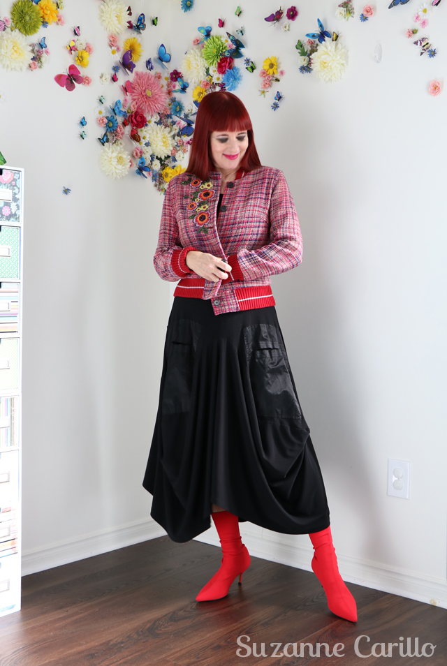 Wearing red to ramp up your visibility. How to style red booties over 40 suzanne carillo