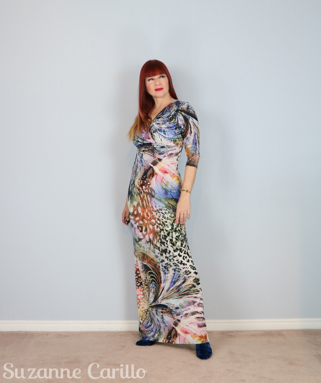 wearable art maxi dress style over 50 suzanne carillo