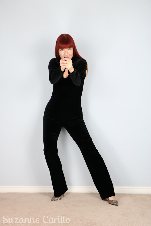 Catsuit Power Emma Peel black velvet cat suit suzanne carillo