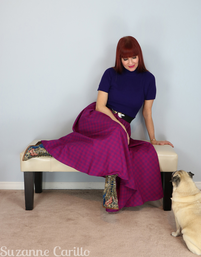 vintage magenta full skirt for sale suzanne carillo