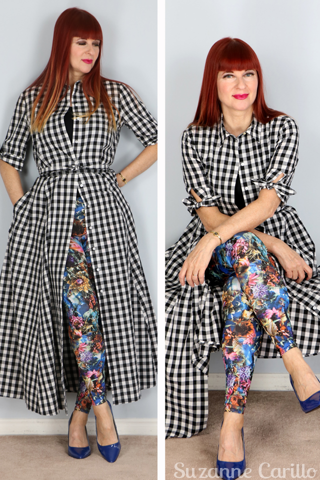 how to style a gingham dress with bold tights suzanne carillo style