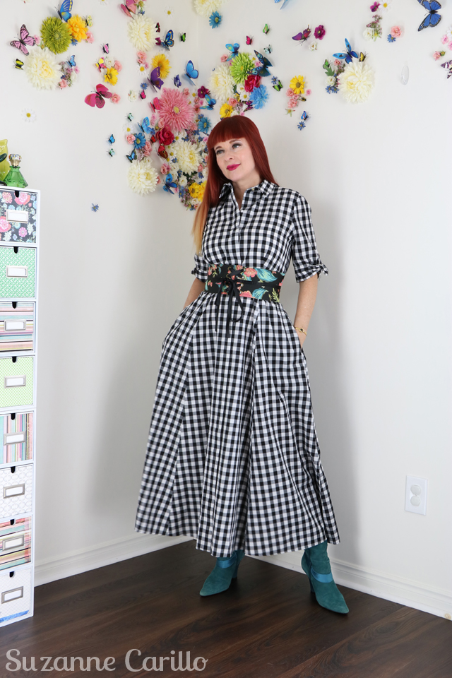 Three gingham outfits for spring - how to wear a long gingham dress over 40 suzanne carillo style