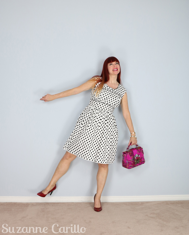 polka dot fit and flare dress for sale suzann carillo