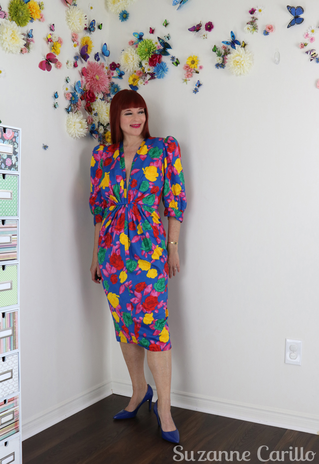 1980s vintage floral plunging neckline dress for sale buy now online