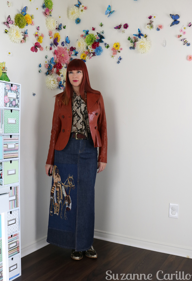 altered denim skirt suzanne carillo style