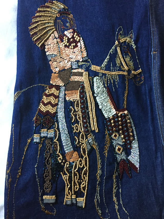 beaded embellished indian on horseback