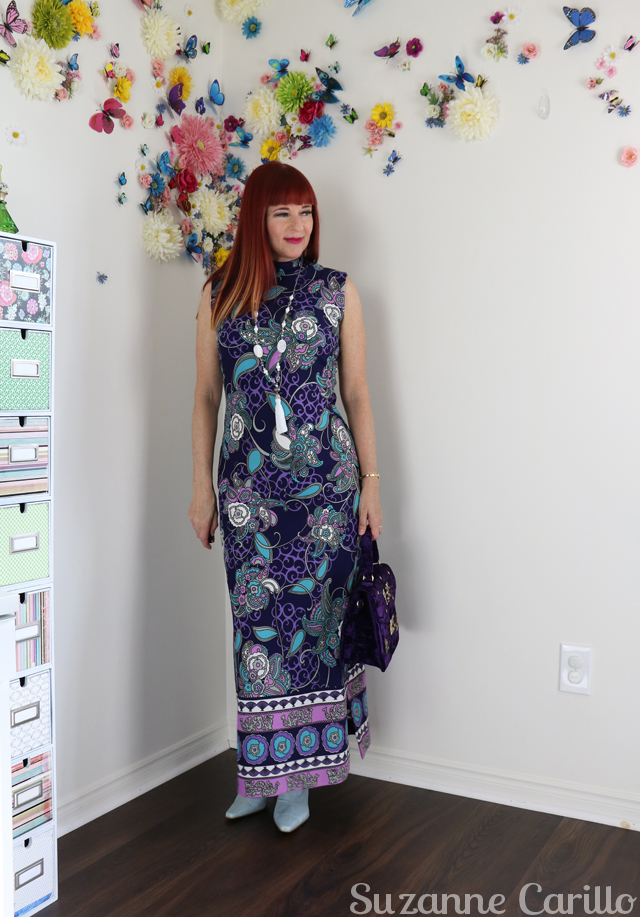 how to wear a vintage cheongsam maxi dress over 40 suzanne carillo style