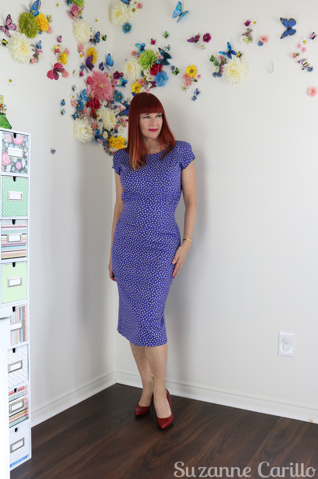 purple polka dot vintage wiggle dress suzanne carillo style