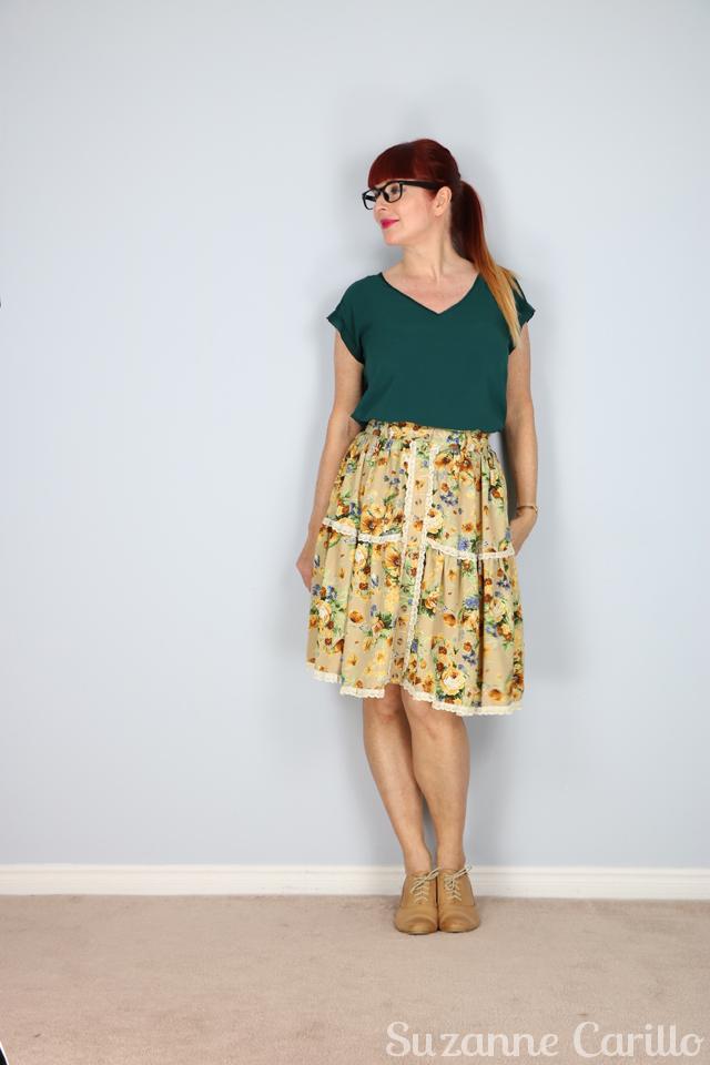 Full flare feminine skirt style. Summer floral skirt for sale suzanne carillo