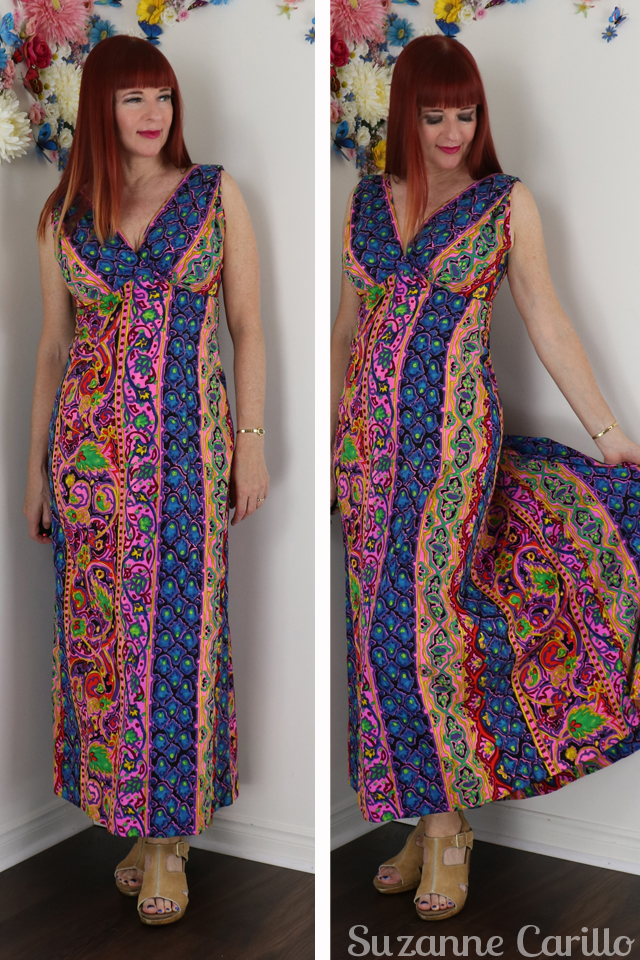 vintage hawaiian maxi dress styled suzanne carillo over 40 style