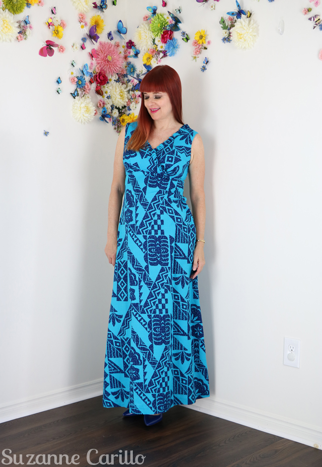 vintage 1960s hawaiian maxi dress tiki dress suzanne carillo