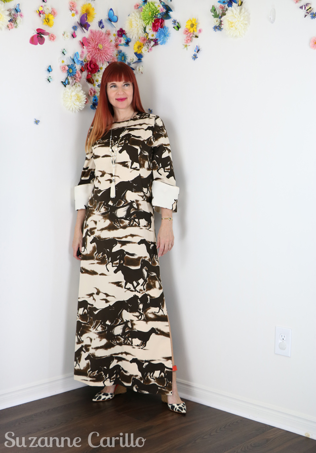 vintage 1970s maxi dress horses running novelty print country western