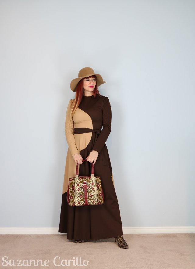 1970s vintage brown maxi dress suzanne carillo