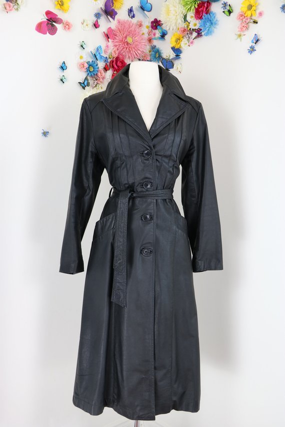 1970s Vintage leather trench coat