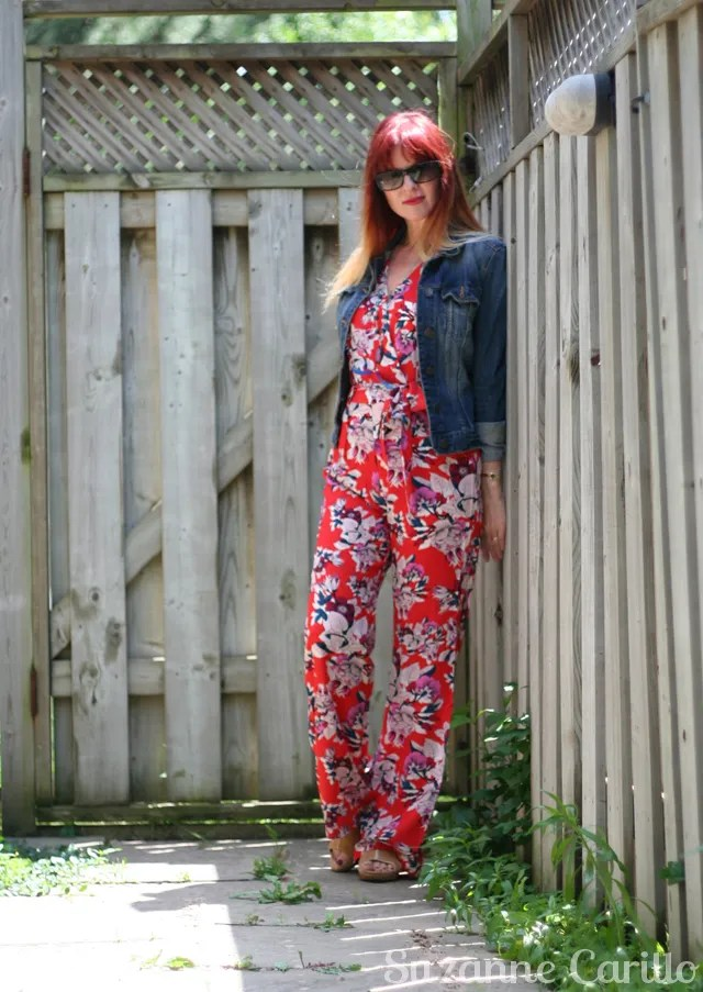 anthropologie floral jumpsuit red