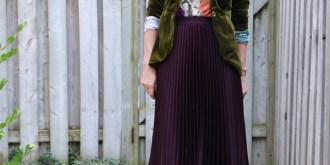 Pleated Skirt Velvet Blazer Fall Style