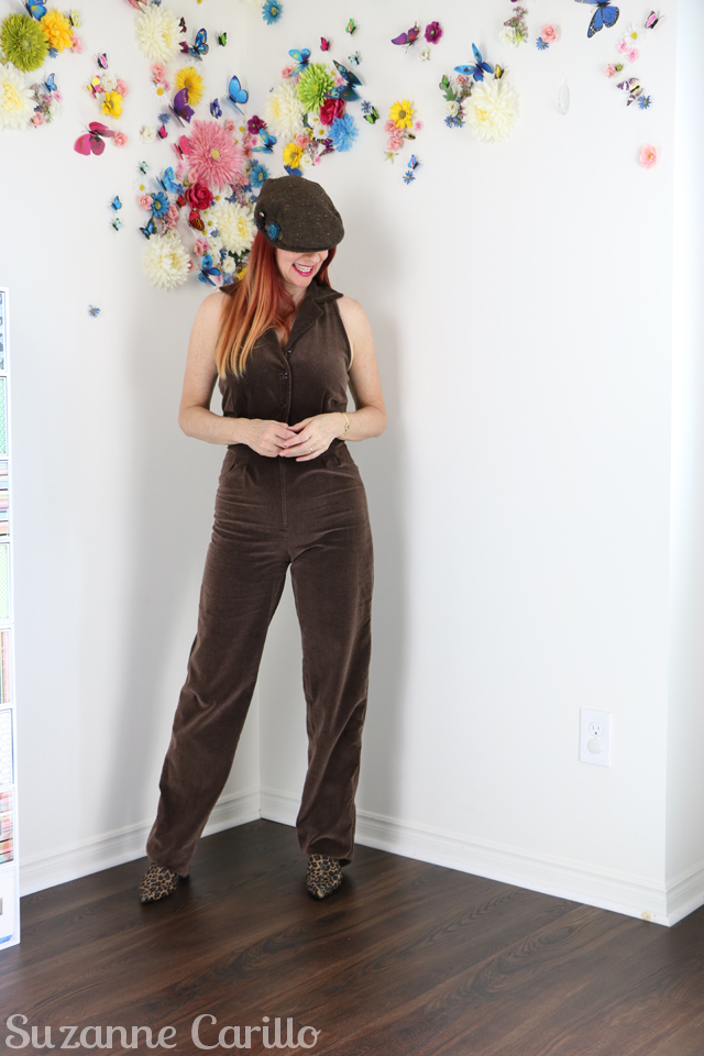 Three things fashion lovers can do to help save our planet. 1970s Brown vintage velvet jumpsuit for sale.