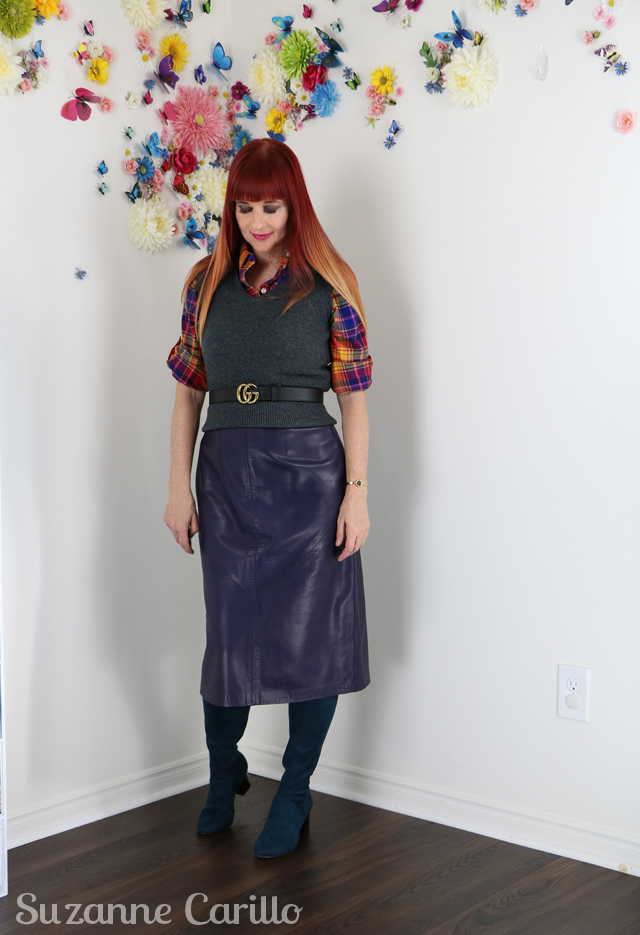 vintage 80s leather skirt styled contemporary