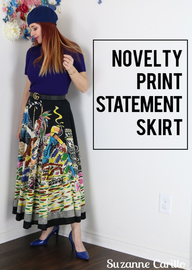 novelty print statement skirt