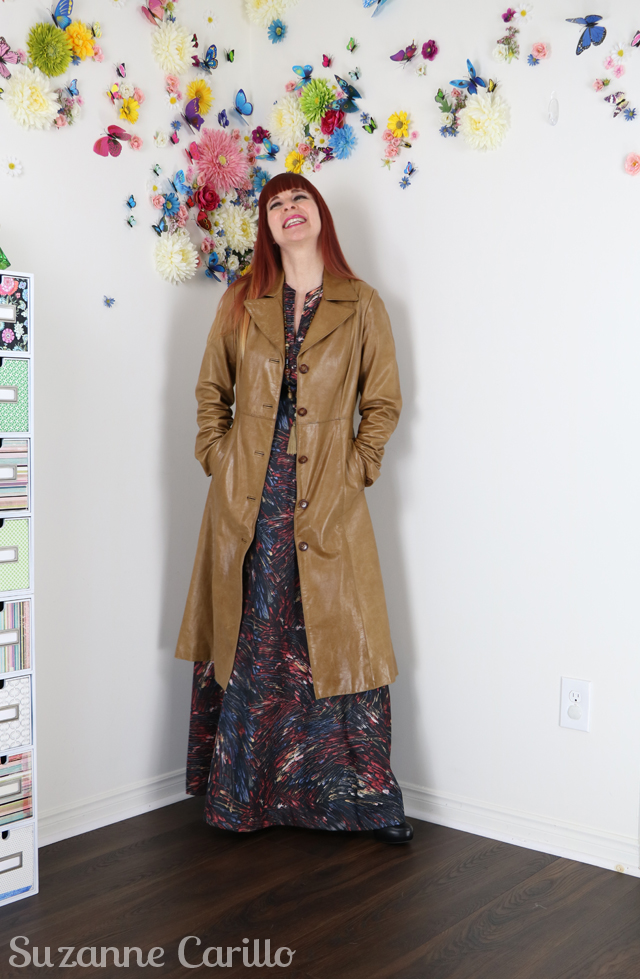vintage 70s leather coat and vintage 70s maxi dress suzanne carillo style