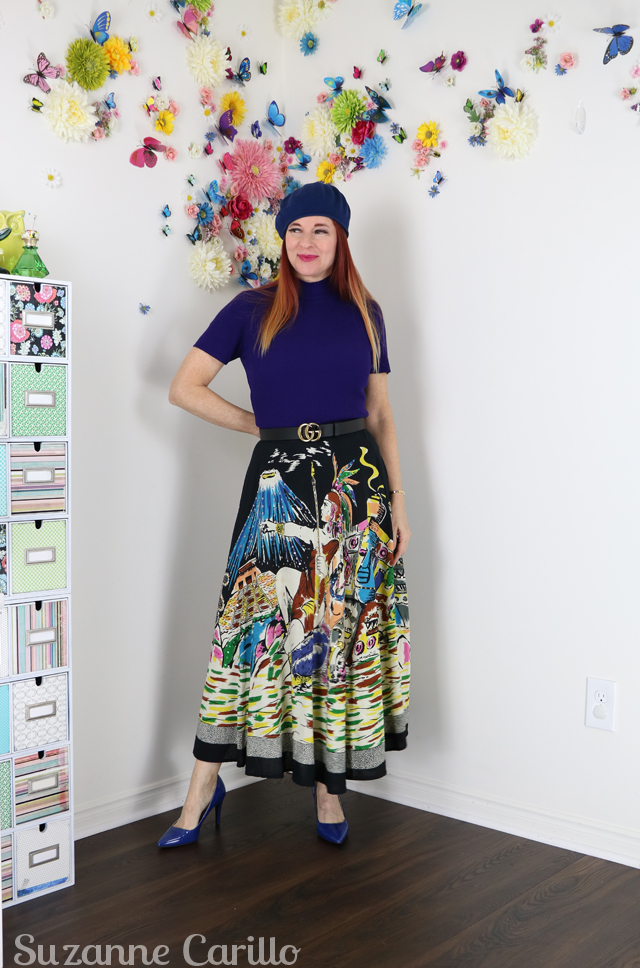 wear vintage novelty skirt over 50 suzanne carillo style
