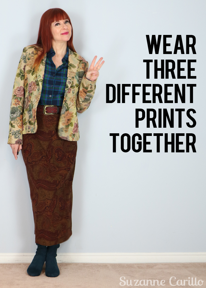 wear three different prints together suzanne carillo style