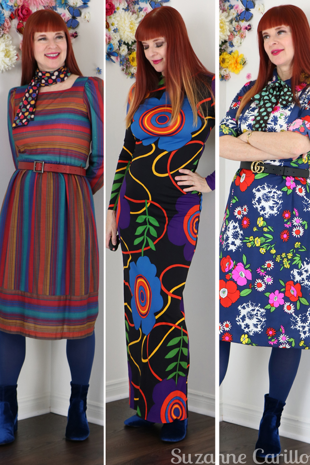 Outfits I love that I took to Vancouver. Colourful vintage dresses to wear over 40 suzanne carillo style