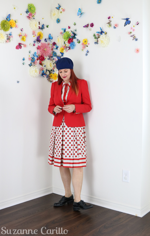 red blazer thrifted red polka dot dress vintage suzanne carillo