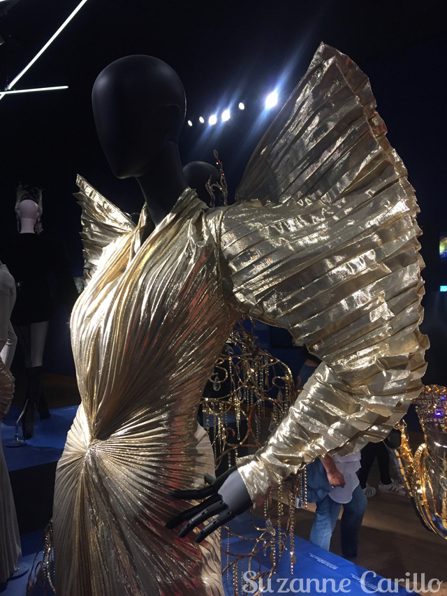 shoulers thierry mugler gold dress