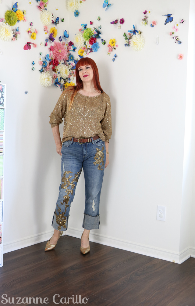 how to shop secondhand online wearing gold and sequins over 40 suzanne carillo style