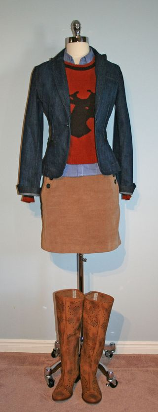 Rust deer sweater with jacket