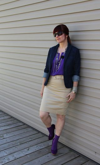 Purple shirt tan skirt jacket side 3