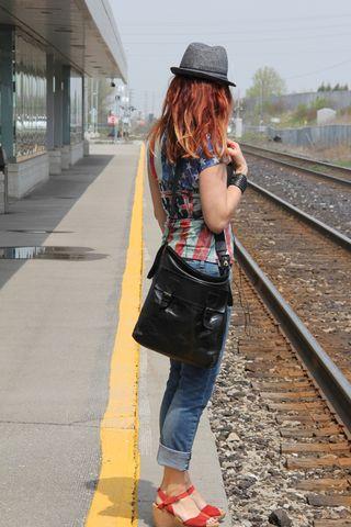 Train tracks looking away