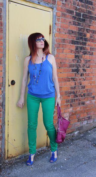 Blue top blue shoes side