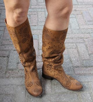 Anthropologie tan leather boots with cutouts