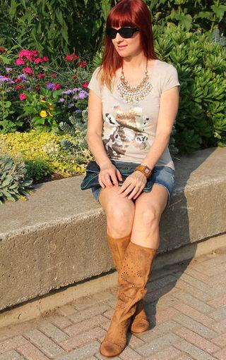 Anthropologie tan leather boots giraffe t-shirt