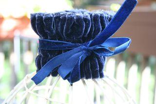 Blue velvet cuff back
