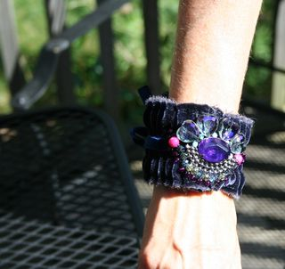 Blue cuff on arm