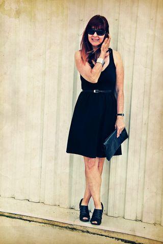 Black summer dress black shoes