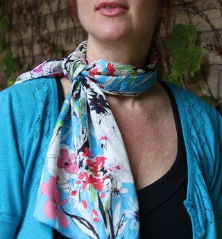 Silk scarf blue black white