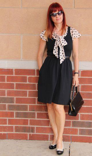 Black cynthia rowley dress polk-a-dot bow tie blouse