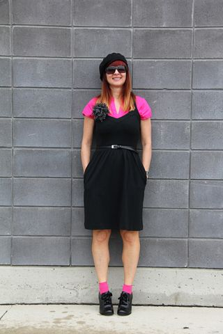 Pink blouse black beret pink socks